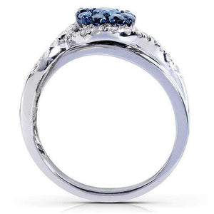 Kobelli Blue and White Diamond Ring 3/4 Carat (ctw) in 14k White Gold