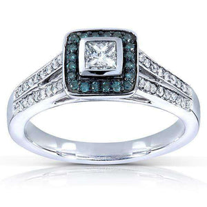 Blue and White Diamond Ring 1/2 Carat (ctw) in 14k White Gold