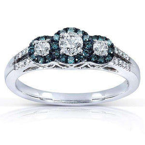 Blue and White Round-cut Three-Stone Diamond Ring 1/2 Carat (ctw) in 14k White Gold