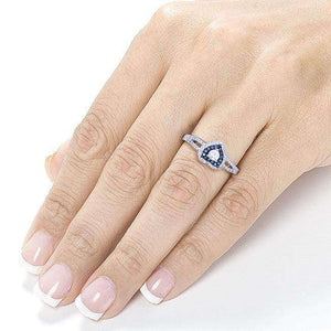 Heart-Shaped Blue & White Diamond Engagement Ring 1/2 Carat (ctw) in 14k White Gold