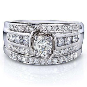 Round-cut Diamond Bridal Set 1 Carat (ctw) in 14k White Gold