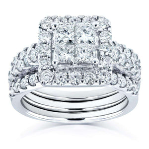 Princess and Round Diamond 3-Ring Bridal Set 1 7/8 Carat (ctw) in 14k White Gold