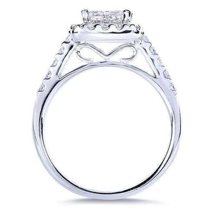 Princess and Round Diamond Engagement Ring 1 3/8 Carat (ctw) in 14k White Gold