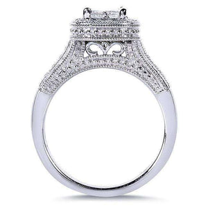 Princess Quad Diamond Bridal Ring Set 3/4 Carat (ctw) in 14k White Gold
