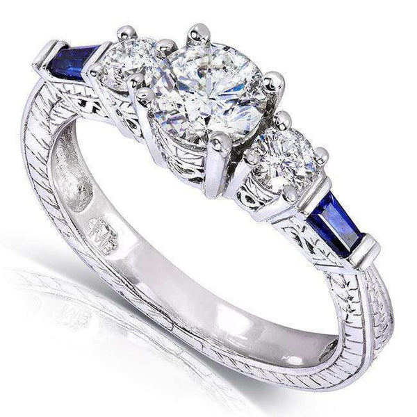 Kobelli Vintage Three-Stone Diamond and Sapphire Engagement Ring 1 Carat (ctw) in 14k White Gold