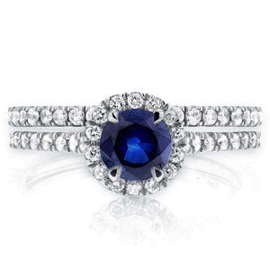 Sapphire and Diamond Round Halo Style Wedding Set 1 CTW in 14k White Gold