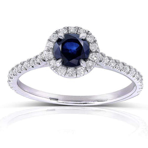 Sapphire and Diamond Round Halo Style Engagement Ring 3/4 CTW in 14k White Gold