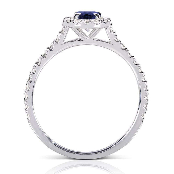 Kobelli Sapphire & Diamond Halo Cathedral Setting