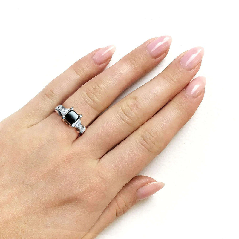 Kobelli Black Princess Diamond Vintage Ring 1 1/8 CTW in 14k White Gold