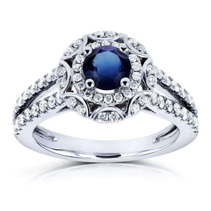Art Deco Blue Sapphire & Diamond Floral Engagement Ring 1 1/10 Carat (ctw) in 14k White Gold