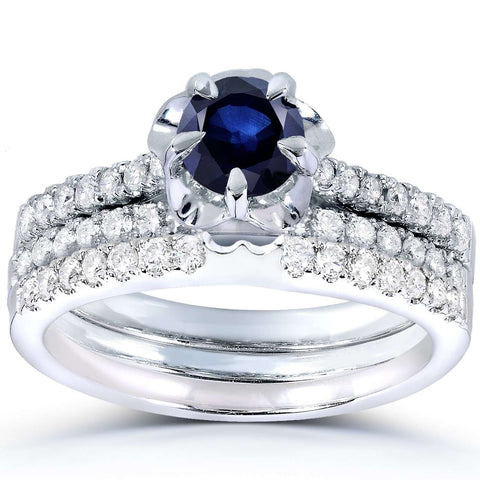 Round Blue Sapphire and Diamond Bridal Set in 14k White Gold