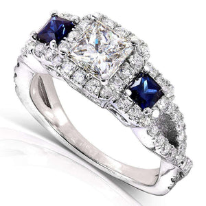Blue Sapphire and Diamond Ring 1 3/4 CTW 14k White Gold