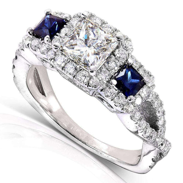 Kobelli Blue Sapphire and Diamond Ring 1 3/4 CTW 14k White Gold