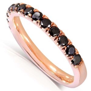 Kobelli Black Diamond Comfort Fit Flame French Pave Band 1/2 carat (ctw) in 14K Rose Gold