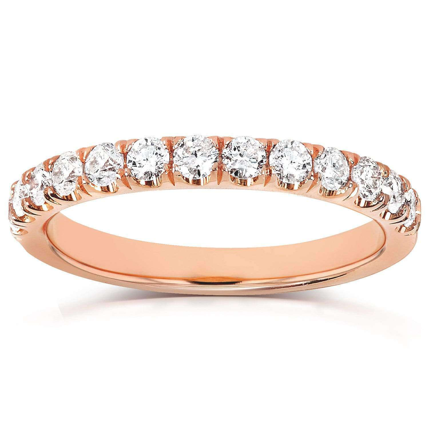 Cheap Comfort Fit French Pave Diamond Rose Gold Band - 9