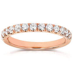 Kobelli Diamond Comfort Fit Flame French Pave Band 1/2 carat (ctw) in 14K Rose Gold