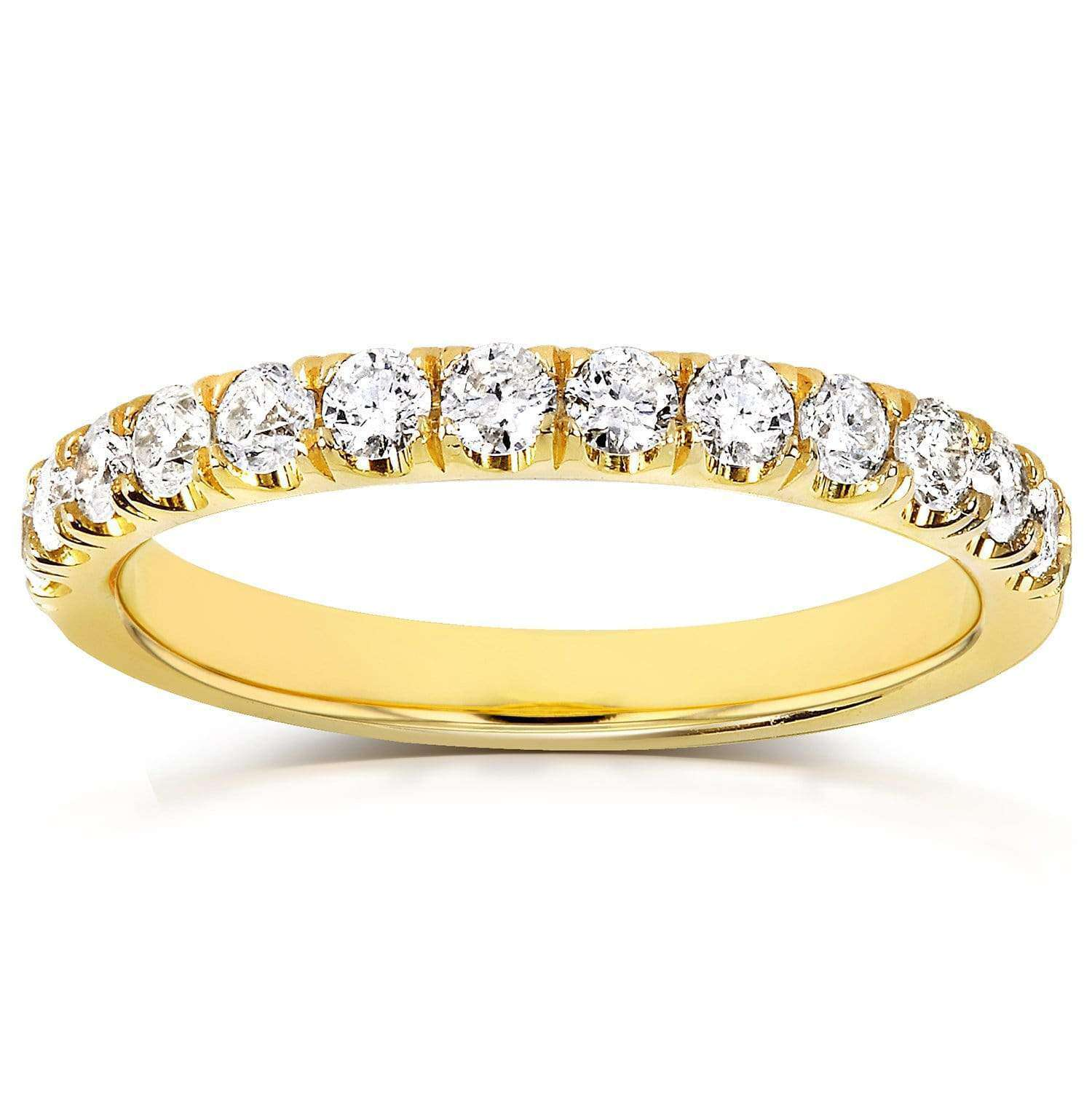 Discounts Comfort Fit French Pave Diamond Yellow Gold Band - 8.5