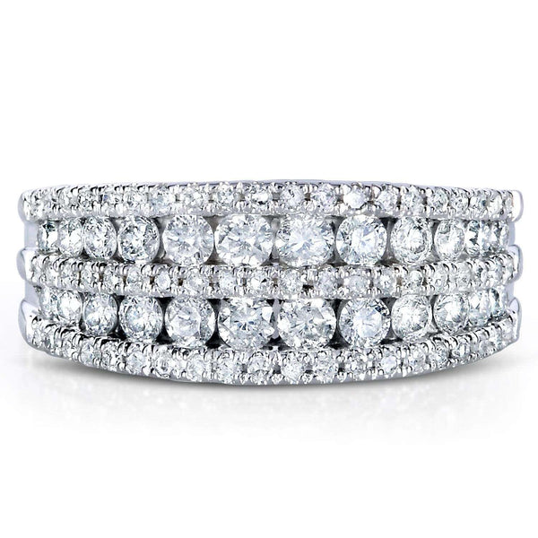Kobelli Multirow Diamond Band 10k White Gold (1 CTW)