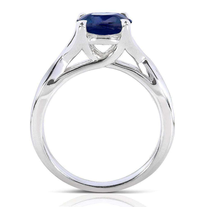 Kobelli Round Blue Sapphire & Diamond Engagement Ring 1 1/5 CTW in 14k White Gold