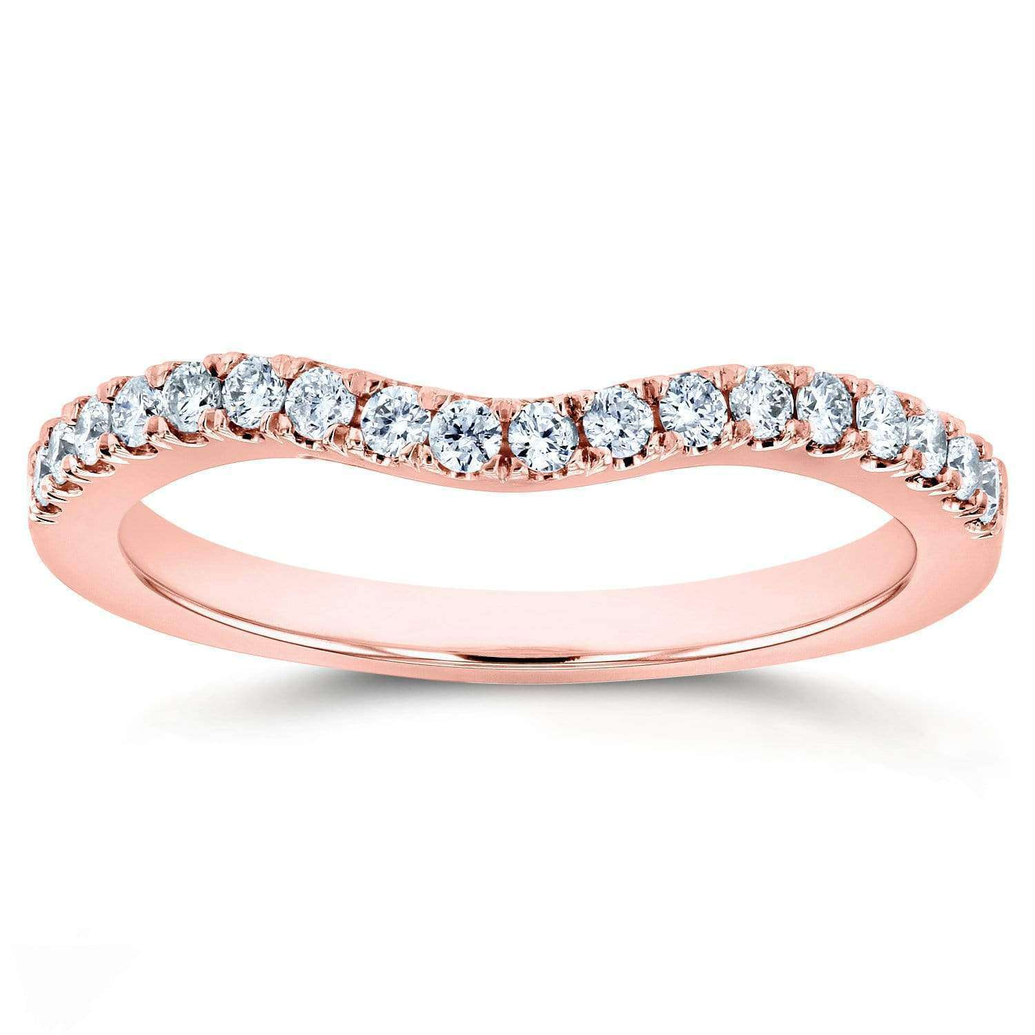 Best Diamond Wedding Band Curved 1/5 CTW 14k Rose Gold - 4
