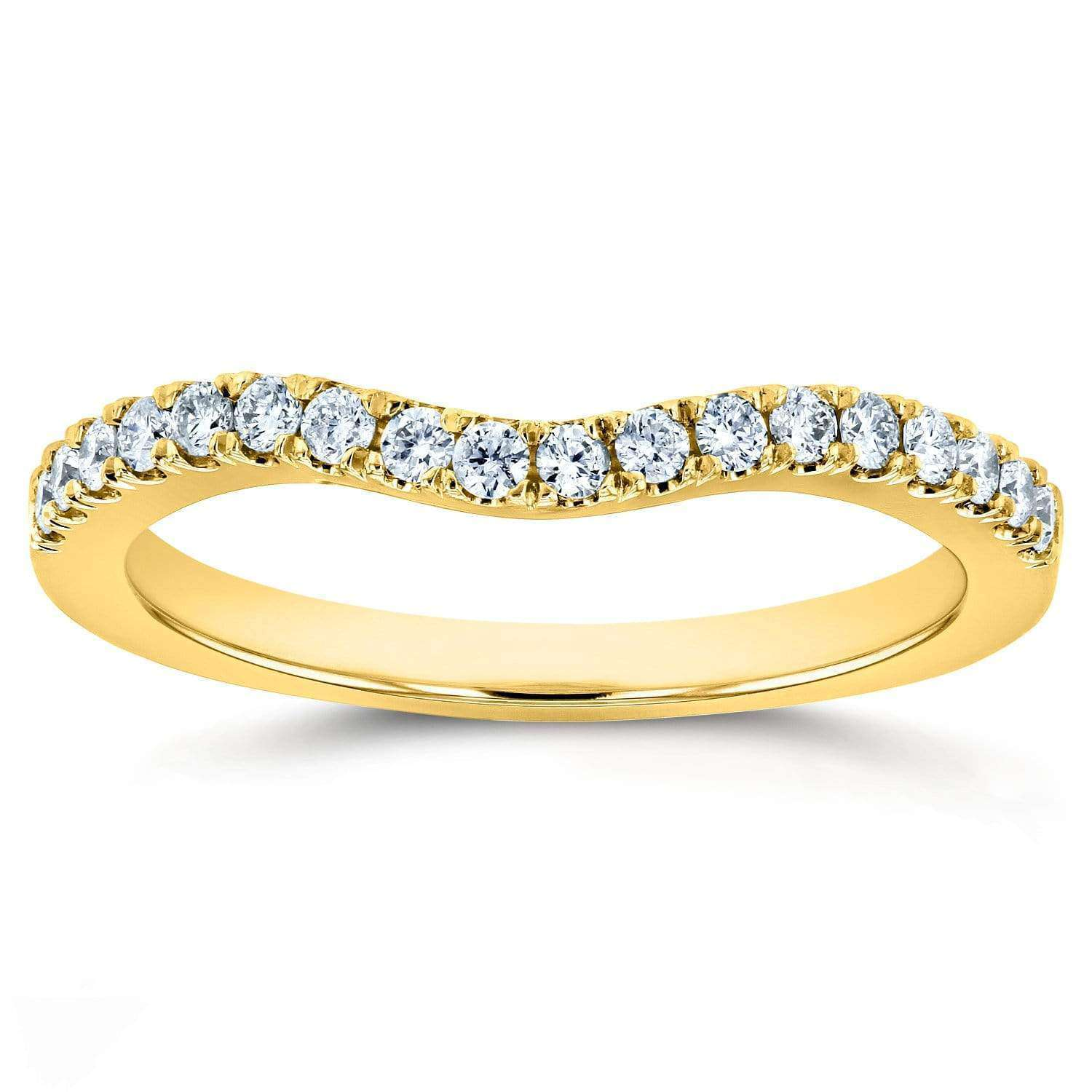 Best Diamond Wedding Band Curved 1/5 CTW 14k Yellow Gold - 7