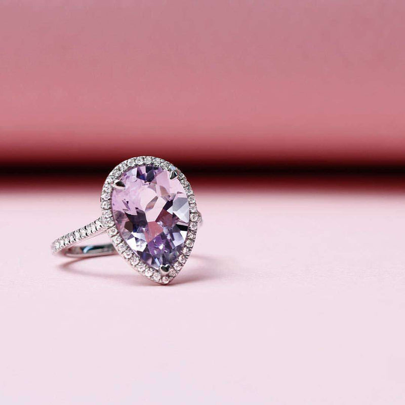 Kobelli Pear Lavender Amethyst and Diamond Ring 10k Gold (4 5/8 CTW)