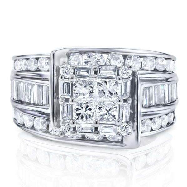Kobelli Princess Multi-Stone Diamond Engagement Ring 2 CTW in 14K White Gold