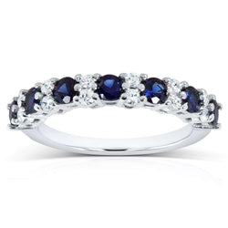 Kobelli Diamond and Blue Sapphire Band 1 carat (ctw) in 14k White Gold
