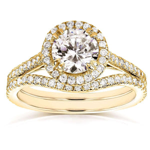 Round-cut Halo Diamond Bridal Ring Set 1 1/2 Carat (ctw) in 14k Yellow Gold