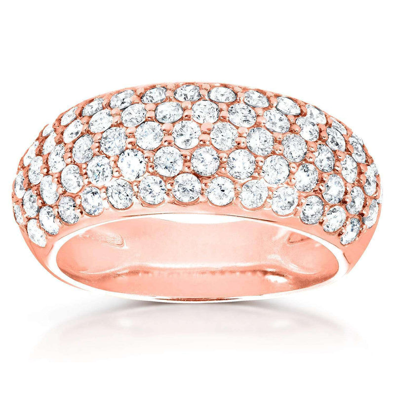 Kobelli Round Domed Diamond Pave Band 1 1/4 carat (ctw) in 14K Rose Gold