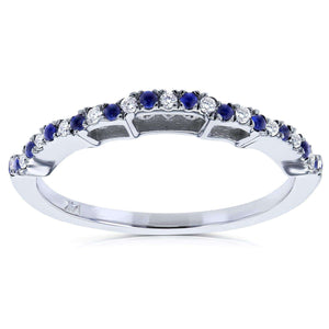 Diamond and Sapphire Wedding Band 1/4 CTW in 14k White Gold - Matches to Kobelli MZFB61989CU