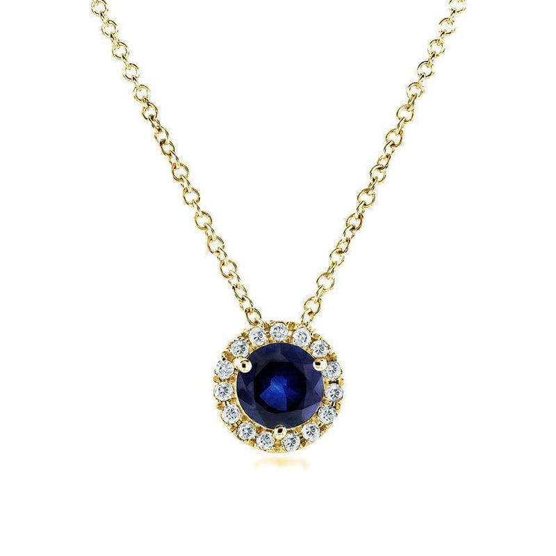 Kobelli Round Blue Sapphire and Diamond Necklace 4/5 Carat (ctw) in 14k Yellow Gold 61990RBS-Y