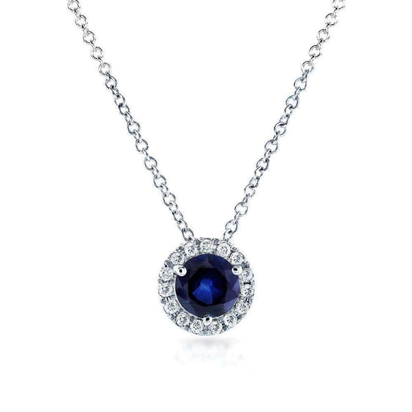 Kobelli Round Blue Sapphire and Diamond Halo Necklace 4/5 Carat (ctw) in 14k White Gold 61990RBS