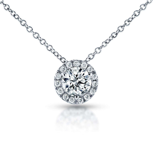 Kobelli Circle Diamond Halo Necklace 3/5 Carat (ctw) in 14k White Gold 61990