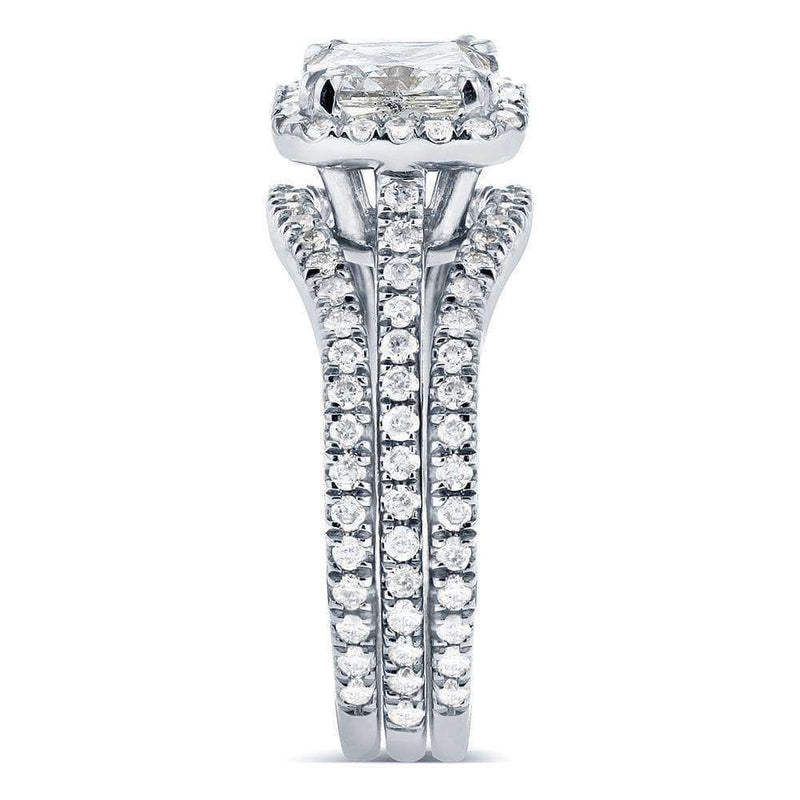 Kobelli Art Deco Radiant-cut Halo Diamond 3-Piece Bridal Ring Set 1 3/4 Carat (ctw) in 14k White Gold