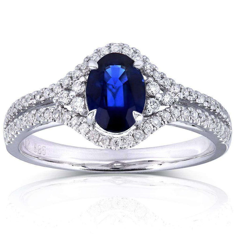 Kobelli Oval Sapphire and Diamond Split Shank Engagement Ring 1 1/3 CTW in 14k White Gold