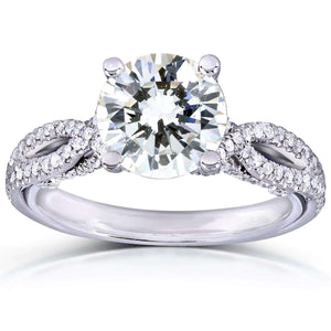 Kobelli Round Cut Moissanite Engagement Ring with Diamond 1 1/3 CTW 14k White Gold