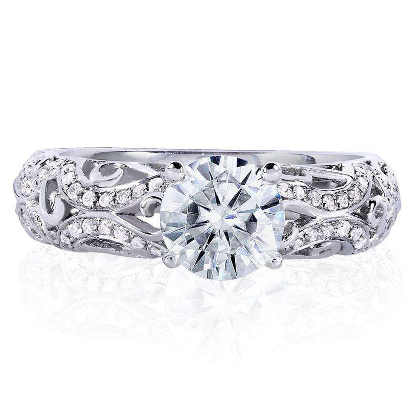 Kobelli Diamond Square Shank Engagement Ring 1 1/6 ctw in 14k White Gold