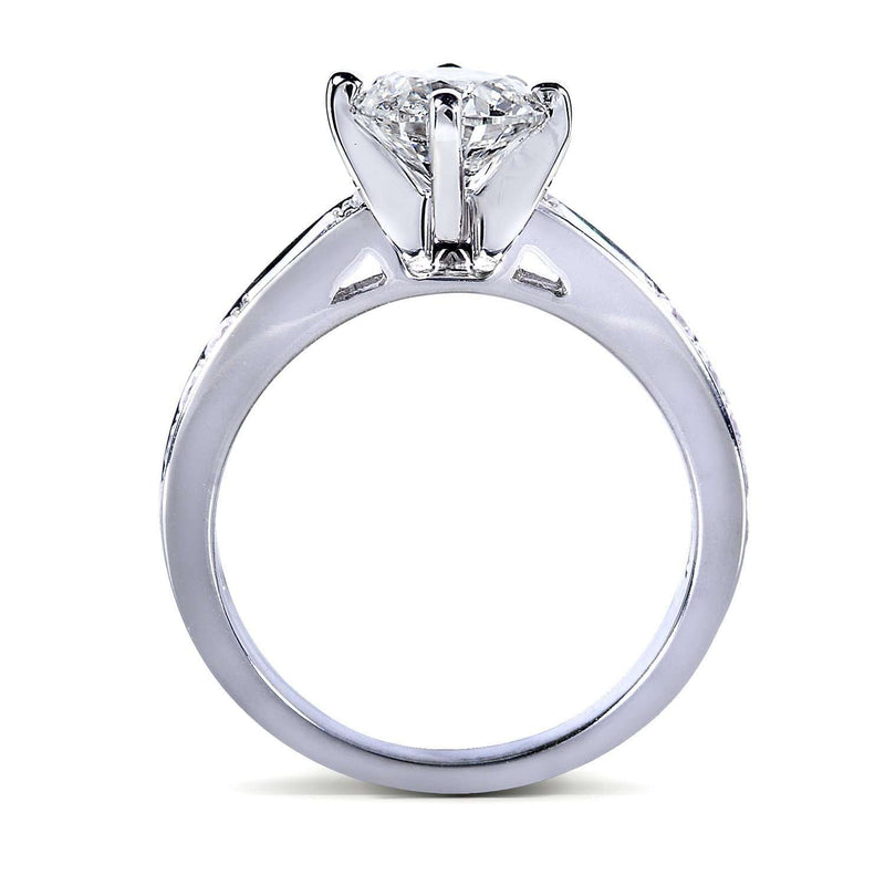 Round Diamond Engagement Ring 1 1/2 Carat in 14k White Gold