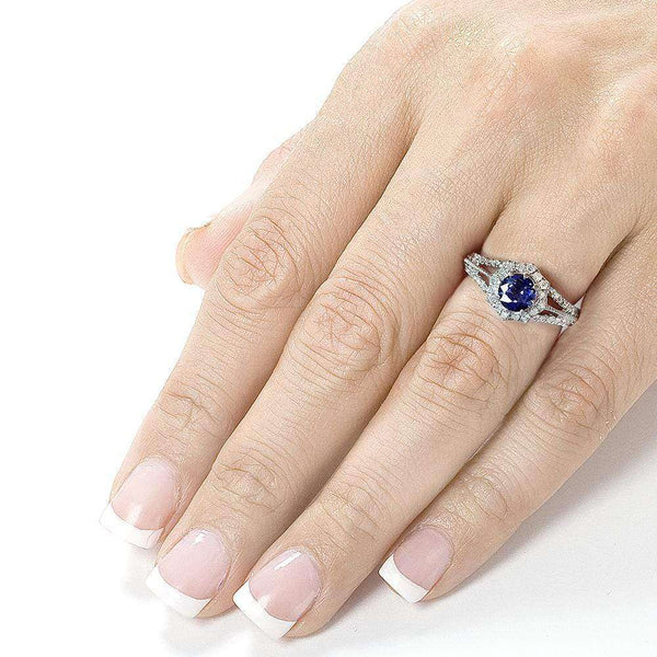 Kobelli Vintage Sapphire & Diamond Engagement Ring 1 Carat (ctw) in 14k White Gold