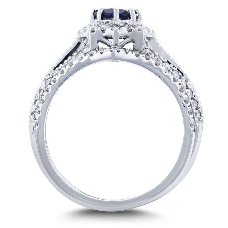 Kobelli Sapphire and 3/5ct TDW Diamond Star Halo Bridal Set 14k White Gold (3 Piece Set)