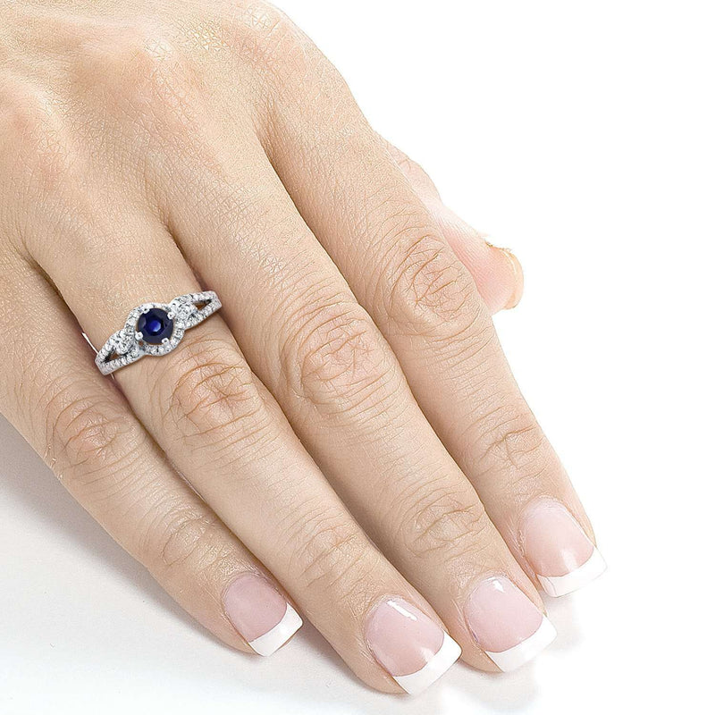 Blue Sapphire and Diamond Knot Engagement Ring 4/5 CTW in 14k White Gold