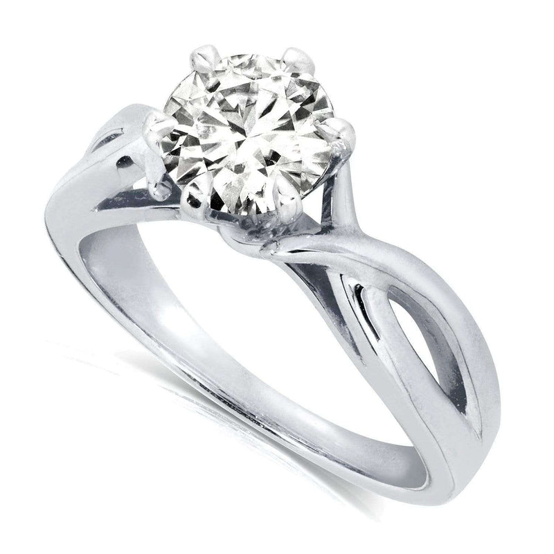 Kobelli Round Brilliant Diamond Solitaire Engagement Ring 1 CTW in 14k White Gold