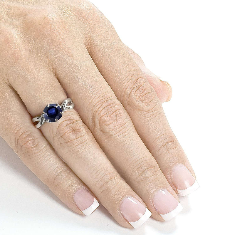 Round Blue Sapphire Engagement Ring 1 CTW in 14k White Gold