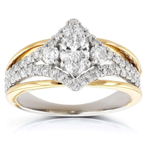 Kobelli Art Deco Marquise Diamond Engagement Ring 1 Carat (ctw) in 14k Two-tone Gold