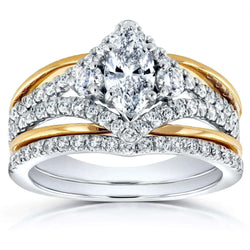 Kobelli Art Deco Marquise Diamond Bridal Ring Set 1 1/5 Carat (ctw) in 14k Two-tone Gold