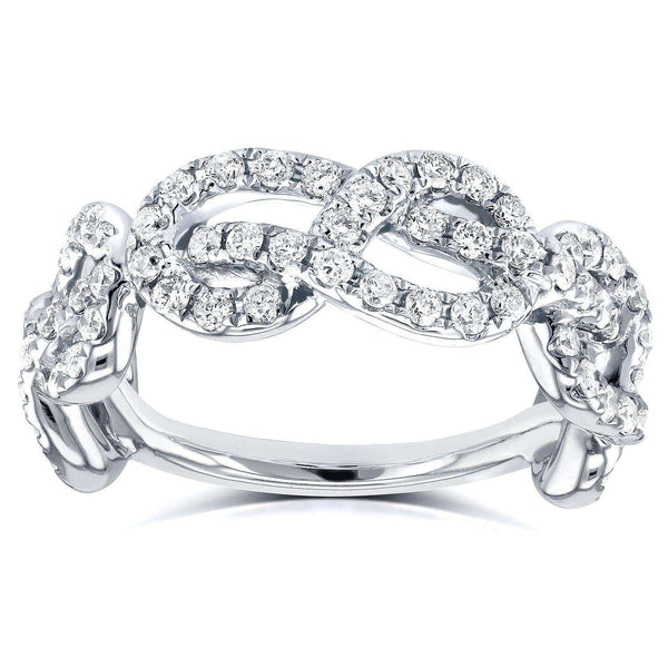 Kobelli Infinity Knot Diamond Ring 3/4 Carat (ctw) in 14k White Gold