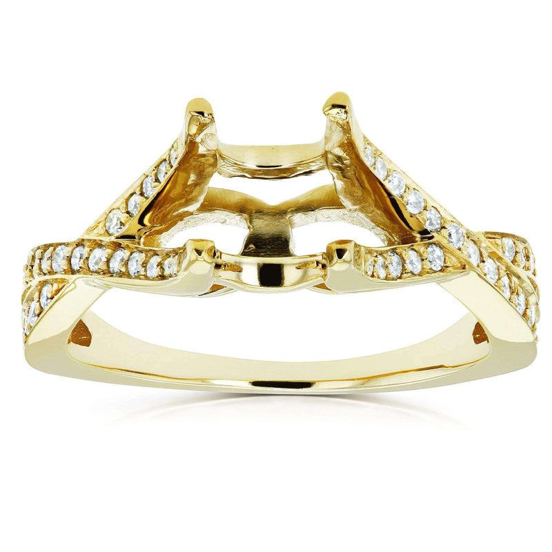 Kobelli Diamond Semi Mount Engagement Ring Crossover Pave-set, 1/4 CTW 14k Yellow Gold (No Center Stone)