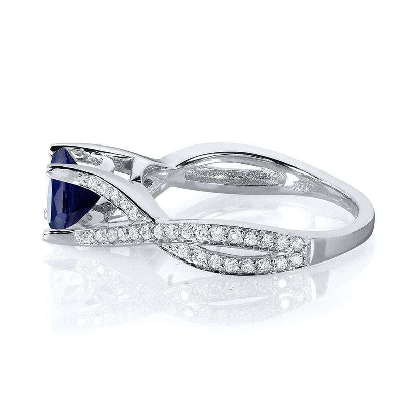 Kobelli Round Sapphire and Diamond PaveCrossover Ring 1 1/4 in 14k White Gold