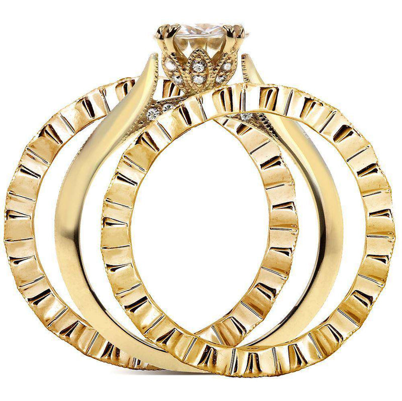 Vintage Diamond Bridal Set 1 4/5 CTW in 14k Yellow Gold (3 Piece Set)